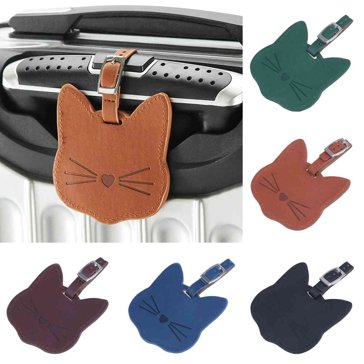 Lovely Cat Leather Suitcase Luggage Tag Label Bag Pendant