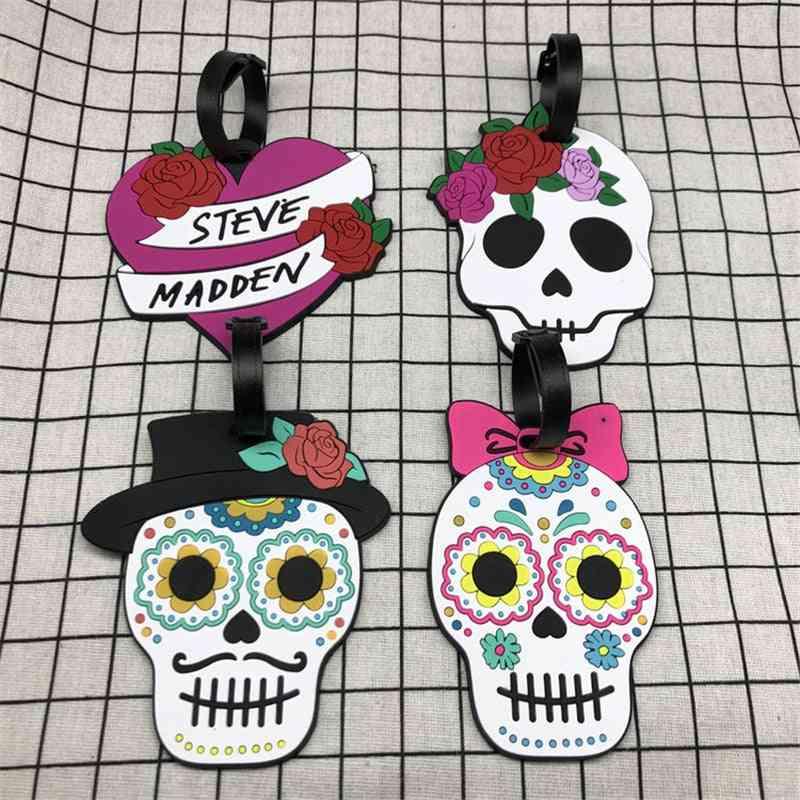 Fashion Flower Skull Travel Luggage Tag, Portable Suitcase Id Address Holder