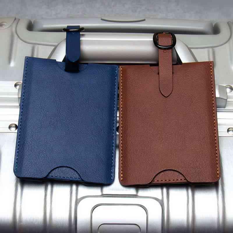 Pu Leather Suitcase Luggage Tags Label Bag Pendant Handbag