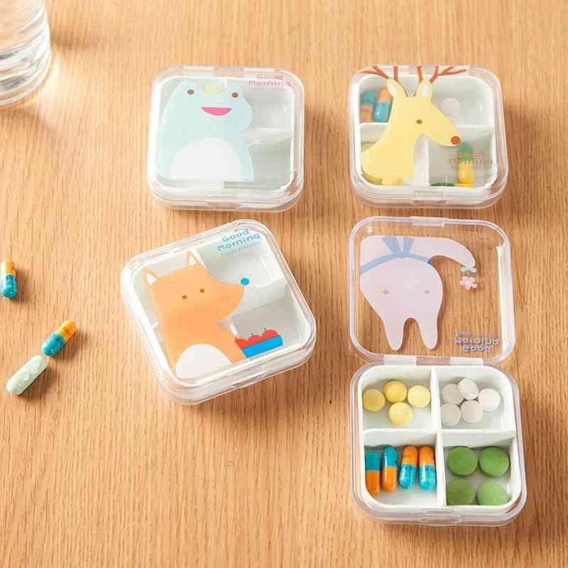 Transparent Cute Cartoon Mini Storage Medicine Pill Box
