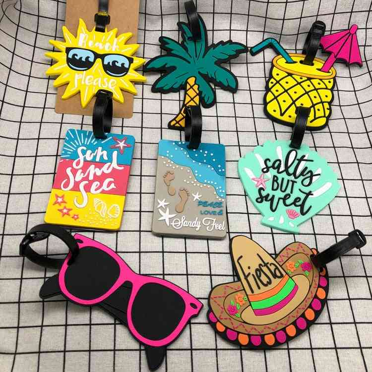 Women Men Fruit Cartoon Luggage Tags, Silica Gel Suitcase Id Address Label Holder