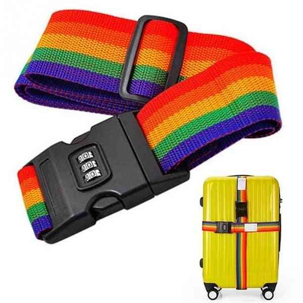 Travel Rainbow Adjustable Luggage Suitcase Strap With Coded Lock