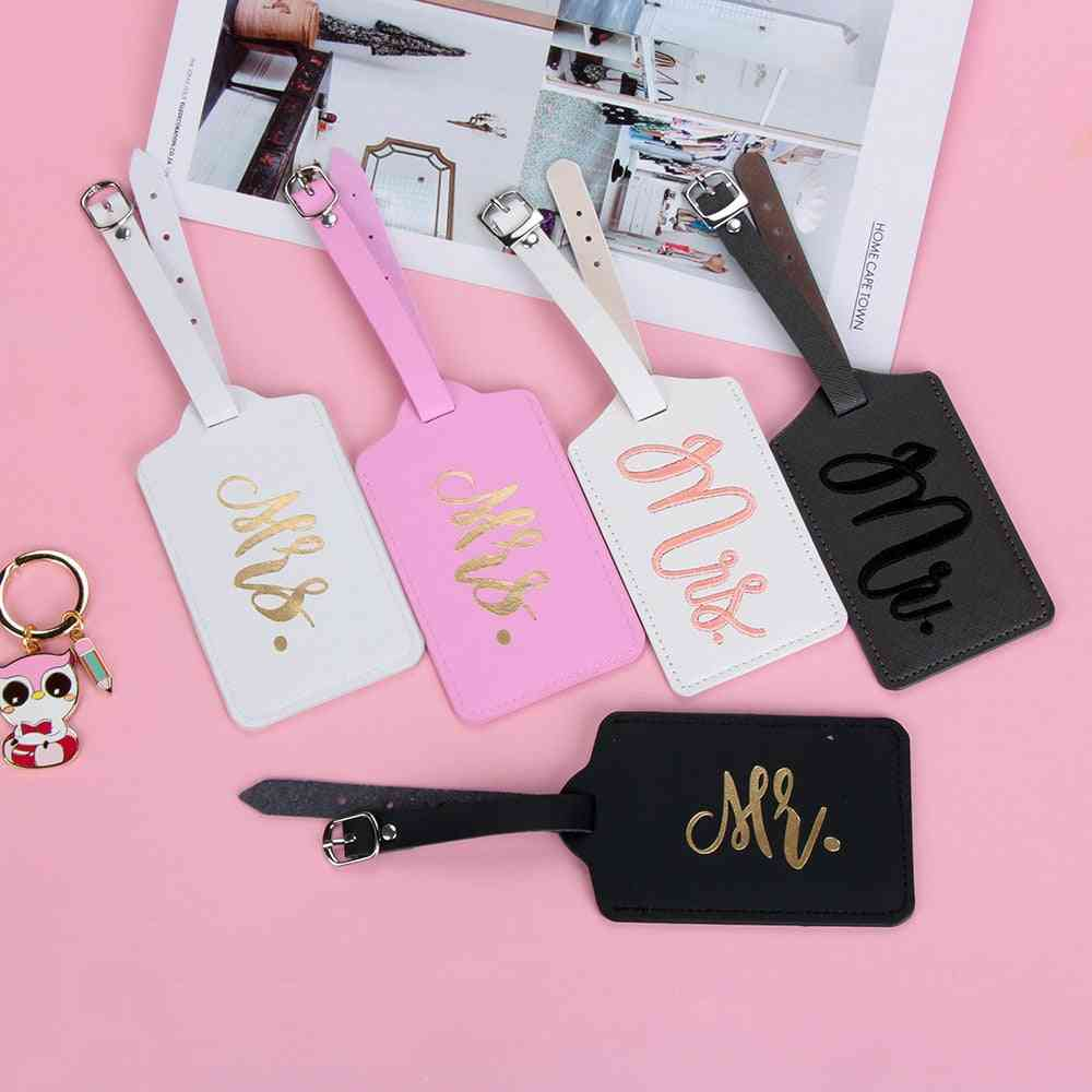 Mr & Mrs Suitcase Label Pu Leather Luggage Tag