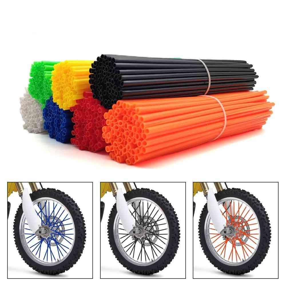 Universal Motorcycle Dirt Bike Wheel Rim Cover Spoke Skins Wrap Tubes Décor Protector
