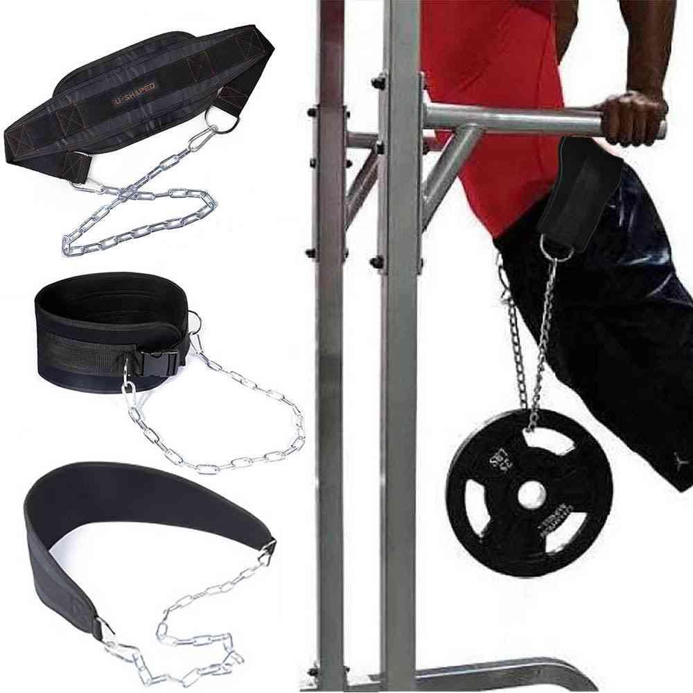 Nylon Lifting Chain Belt Weight Loading Lifting Dip Belt Pull Up Waist Belt For Chin Up Kettlebell Barbell Fitness Bodybuilding