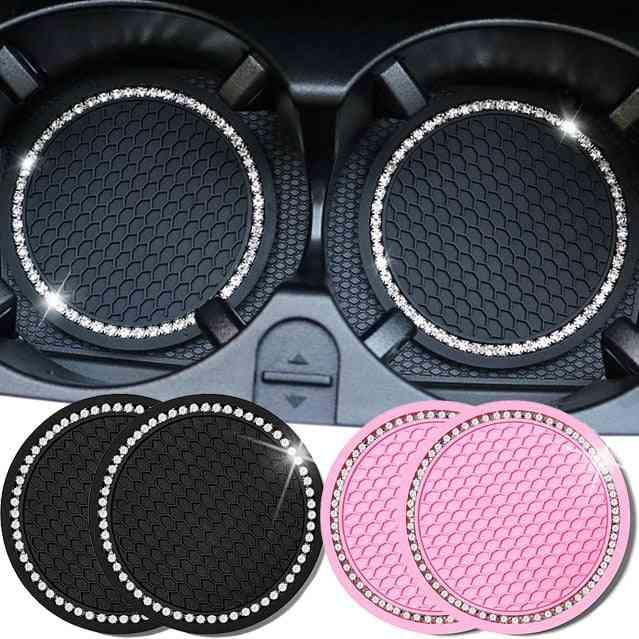Car Water Cup Pad Diamond Rhinestone Rubber Mat For Bottle Holder Coaster Auto Interior