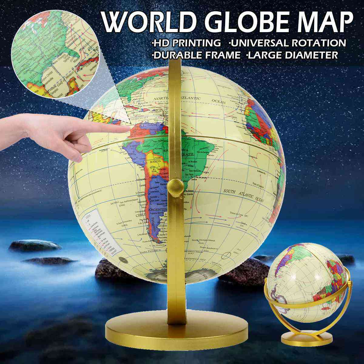2world Earth Globe Map Geography Educational Toy