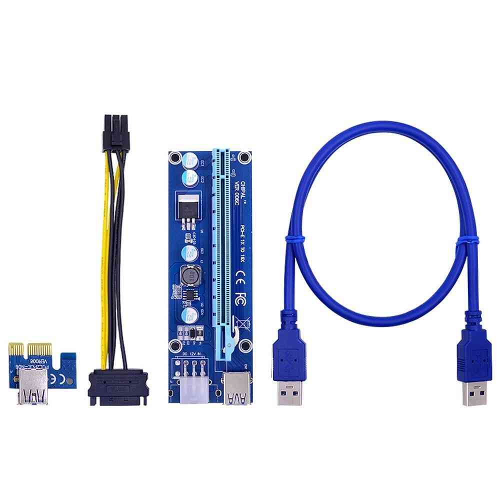 Pcie 1x To 16x Extender Usb 3.0 Cable 6pin Power Cord For Video Card