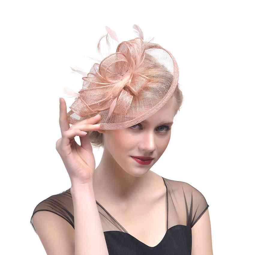 Fashion Mesh Fascinators Feather Headwear Hair Clip