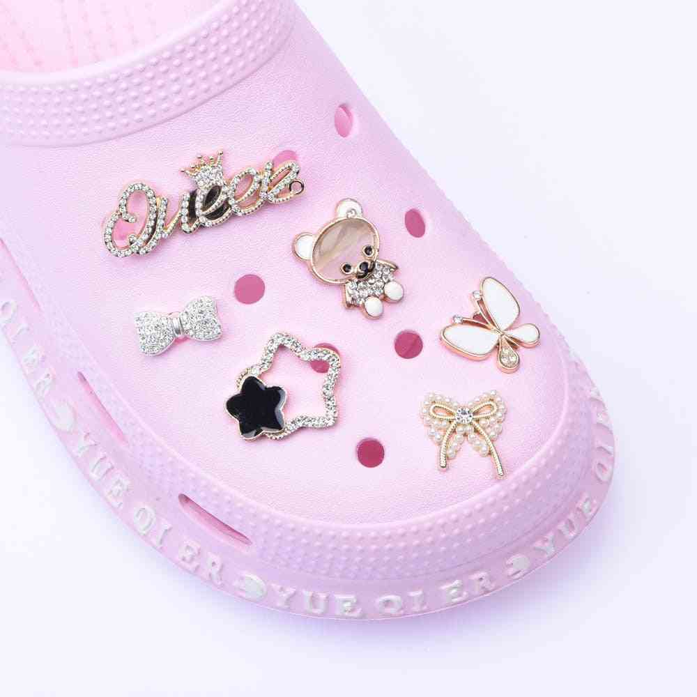 Metal Shoes Charms Butterfly Clog Button Decoration Croc Shoes