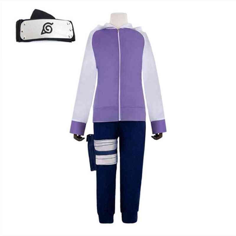 Anime Hyuga Hinata Shippuden Generation Purple Jacket Pants Cosplay Costumes