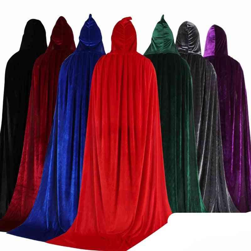 Adult Kids Halloween Velvet Cloak Cape Hooded