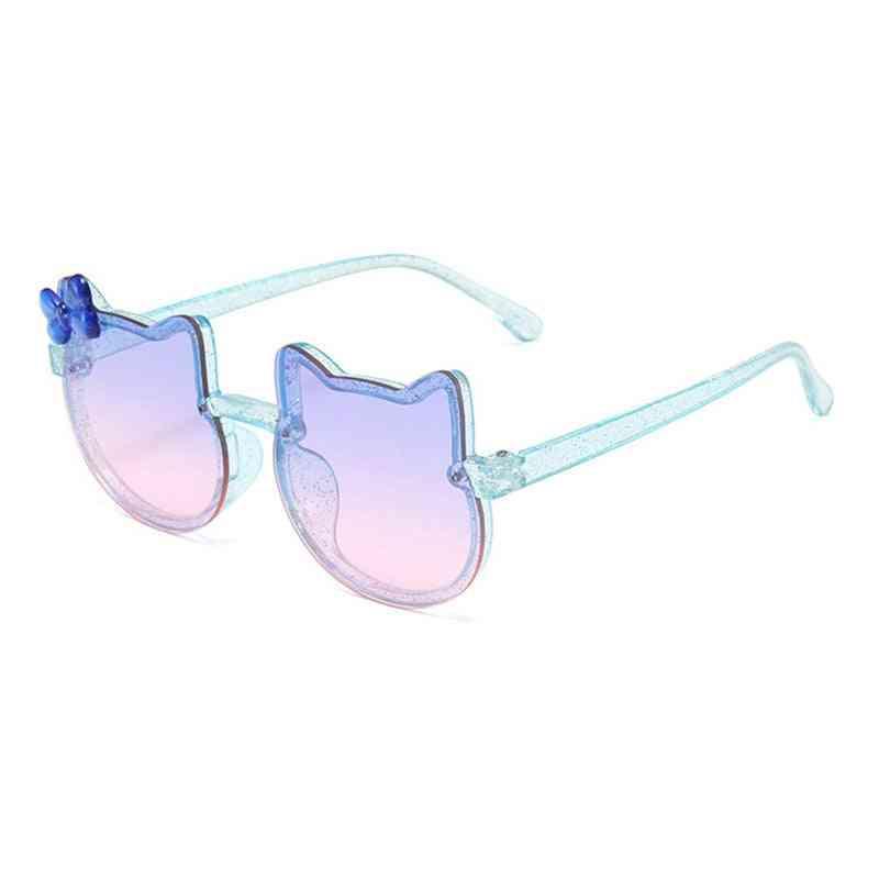 Lovely Cat Design Kids Sunglasses Bowknot Shining Sun Glasses