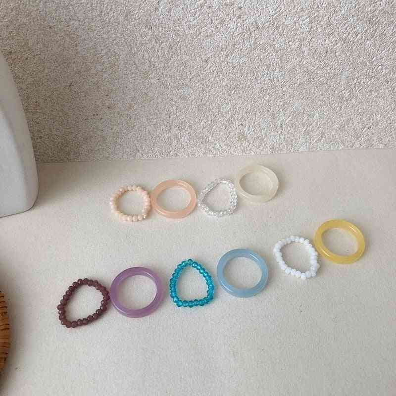 Colorful Crystal Beads Resin Rings