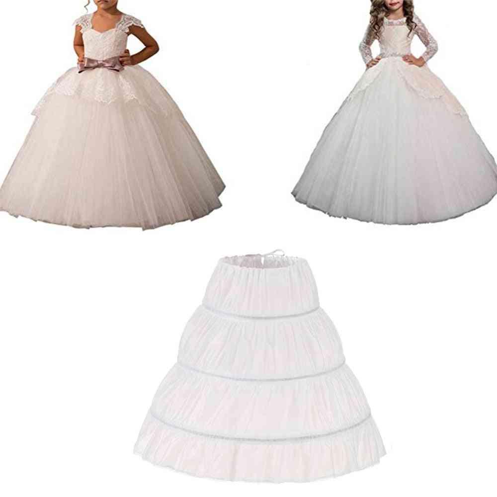 One Layer Kids Crinoline Lace Trim Flower Girl Dress Underskirt