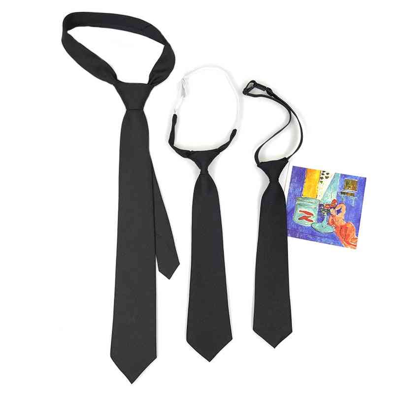 Female Hand Style Student Solid Color Basic Black Small Necktie