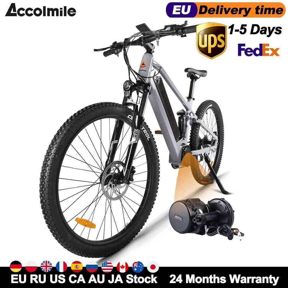 Best Electric Bike E Bike 48v 750w Bafang Mid Motor Bicycle Mens Mountain Bike E-bike 27.5inch Bicycle Shock Absorption