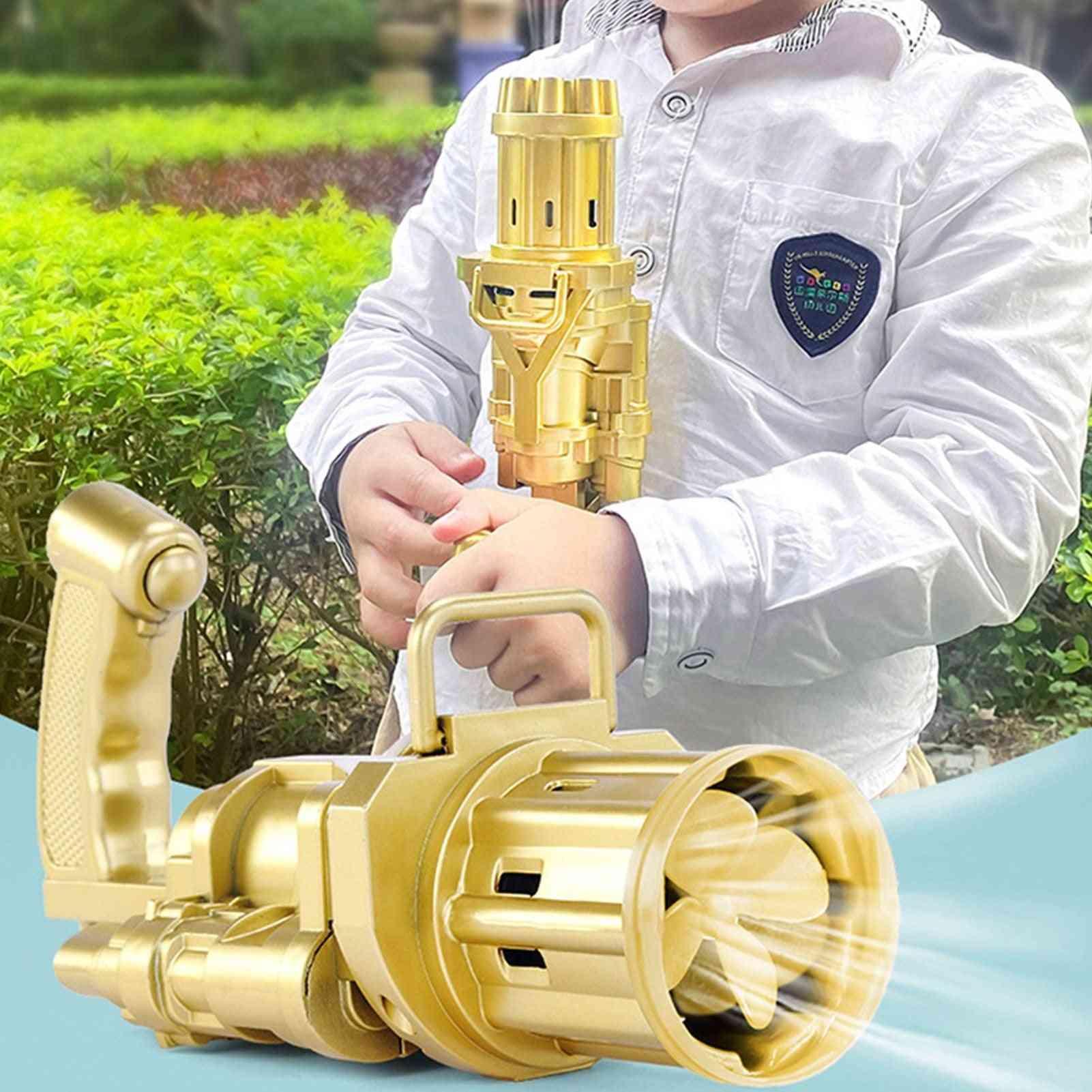 Kids Automatic Gatling Bubble Gun Summer Soap Water Bubble