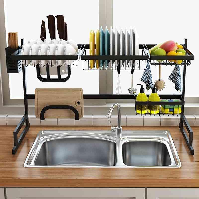 Stainless Steel 65 / 85cm Black U-shaped Kitchen Dish Rack Holder