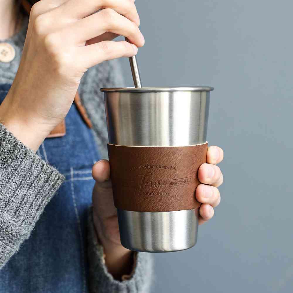 Stainless Steel Coffee Mugs 350ml Tea Cups Big Travel Mugs Camping
