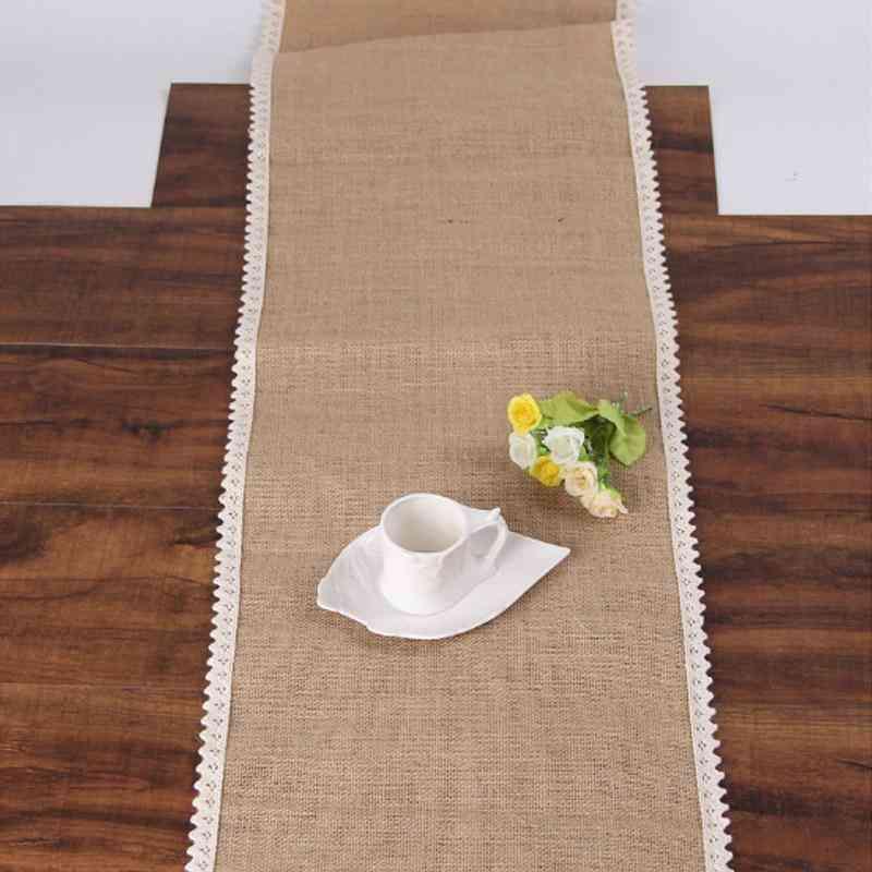 Hazy Jute Table Runner Wedding Vintage Natural Burlap Lace