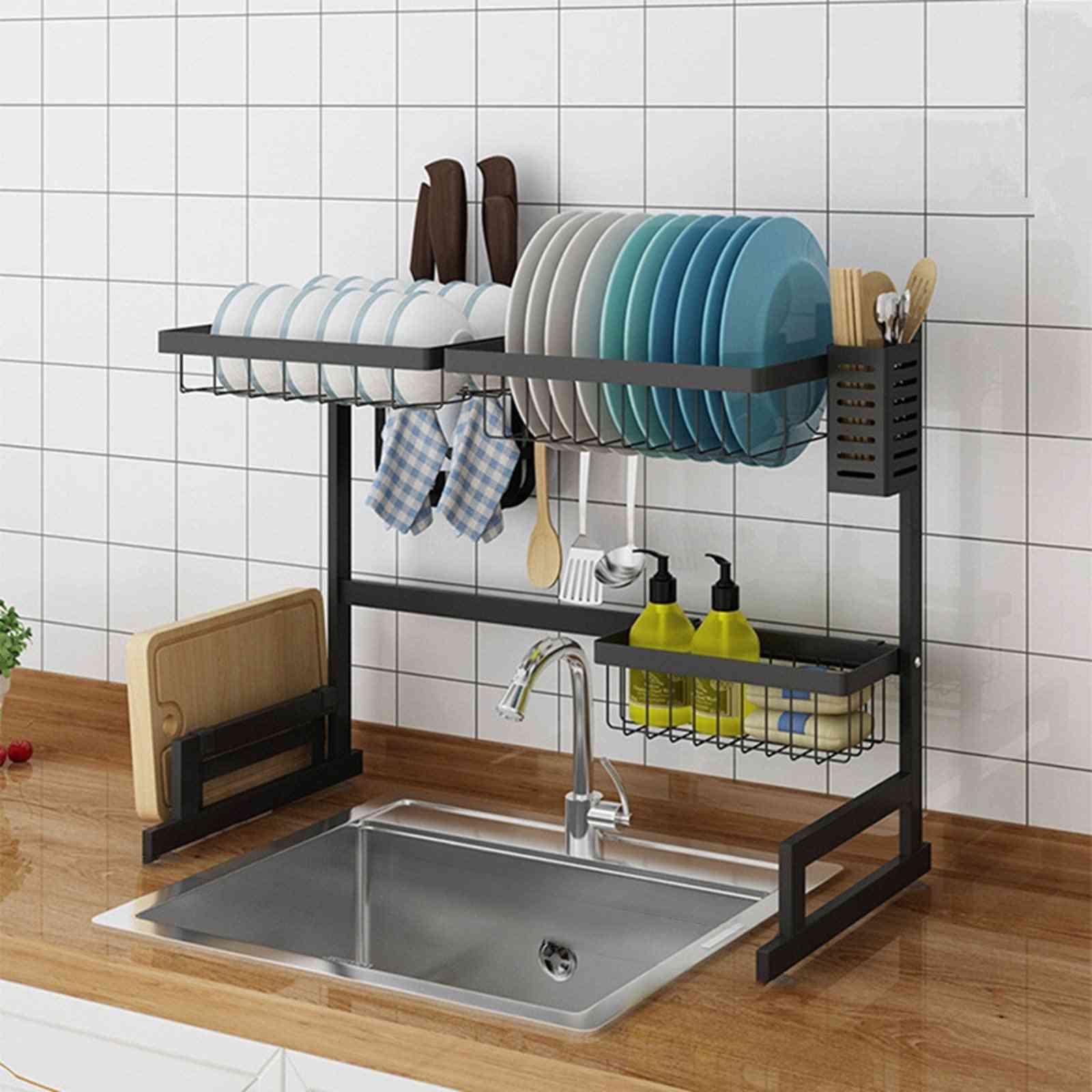 Dish Drying Rack Over Sink Display Drainer Kitchen Utensils Holder Us