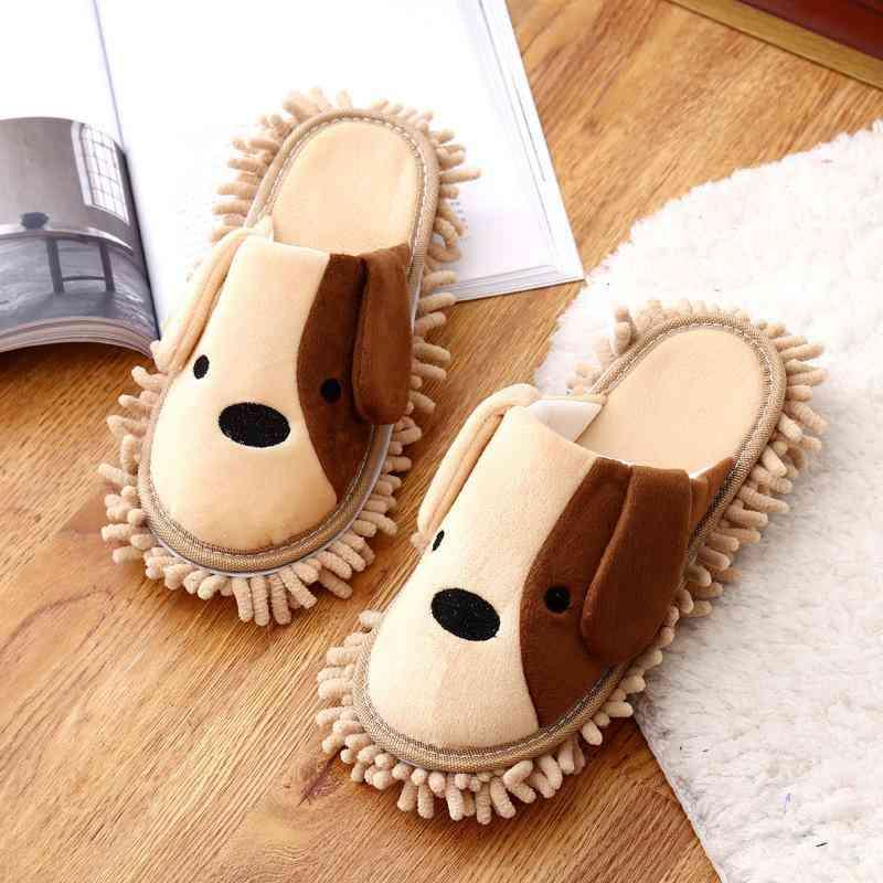 Cartoon Removable Mute Floor-wipe Loafers (beige Onesize)