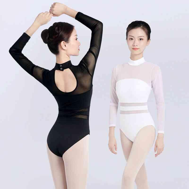 Women's Ballet Leotards Mesh Gymnastics Bodysuit
