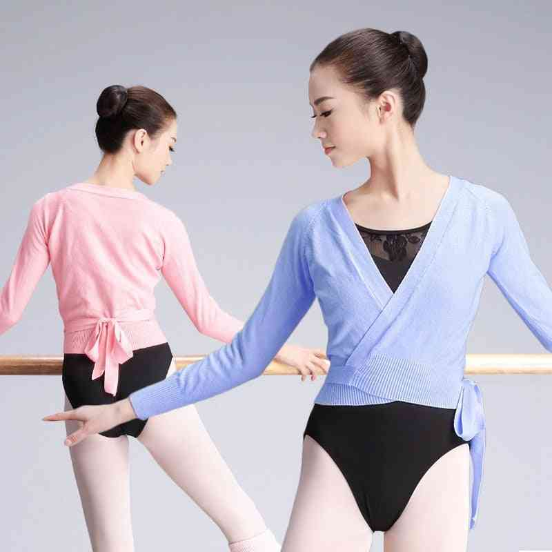 Girls Women Leotards Lace-up Coat Ballet Overall Wrap Sweaters