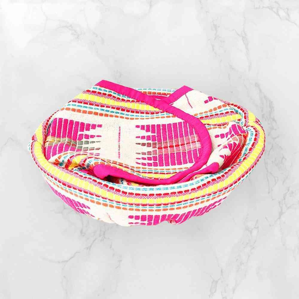 Pink Star Tortilla/bread Basket With Cane Basket - 9 Inch