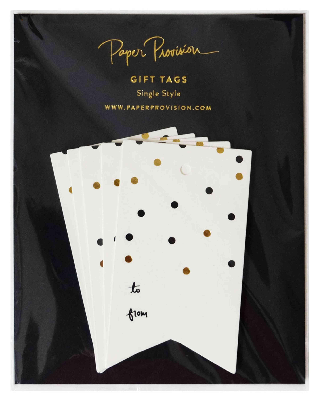 Gold & Black Confetti Tag