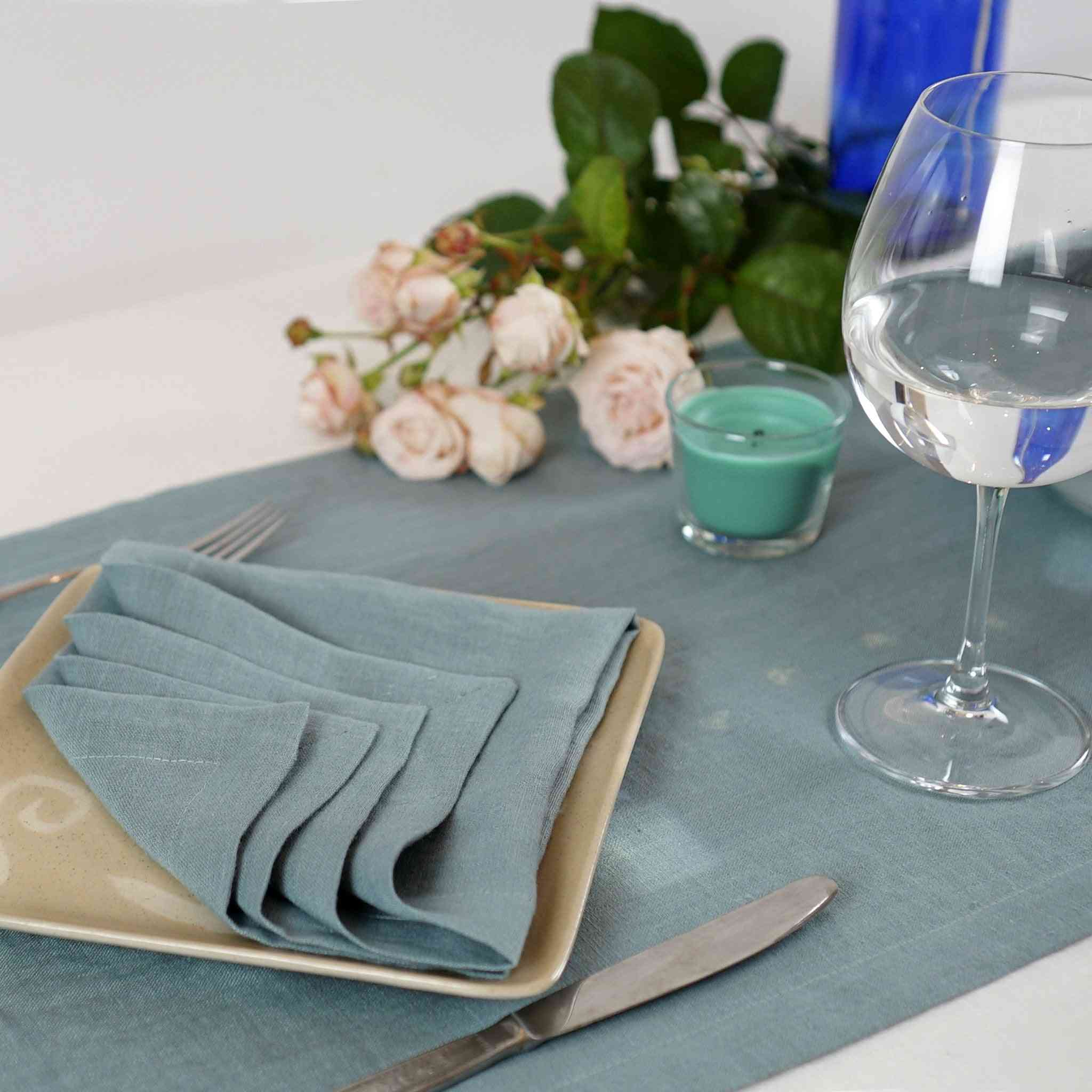 Set Of Double Sided Linen Napkins With A Nice Hem