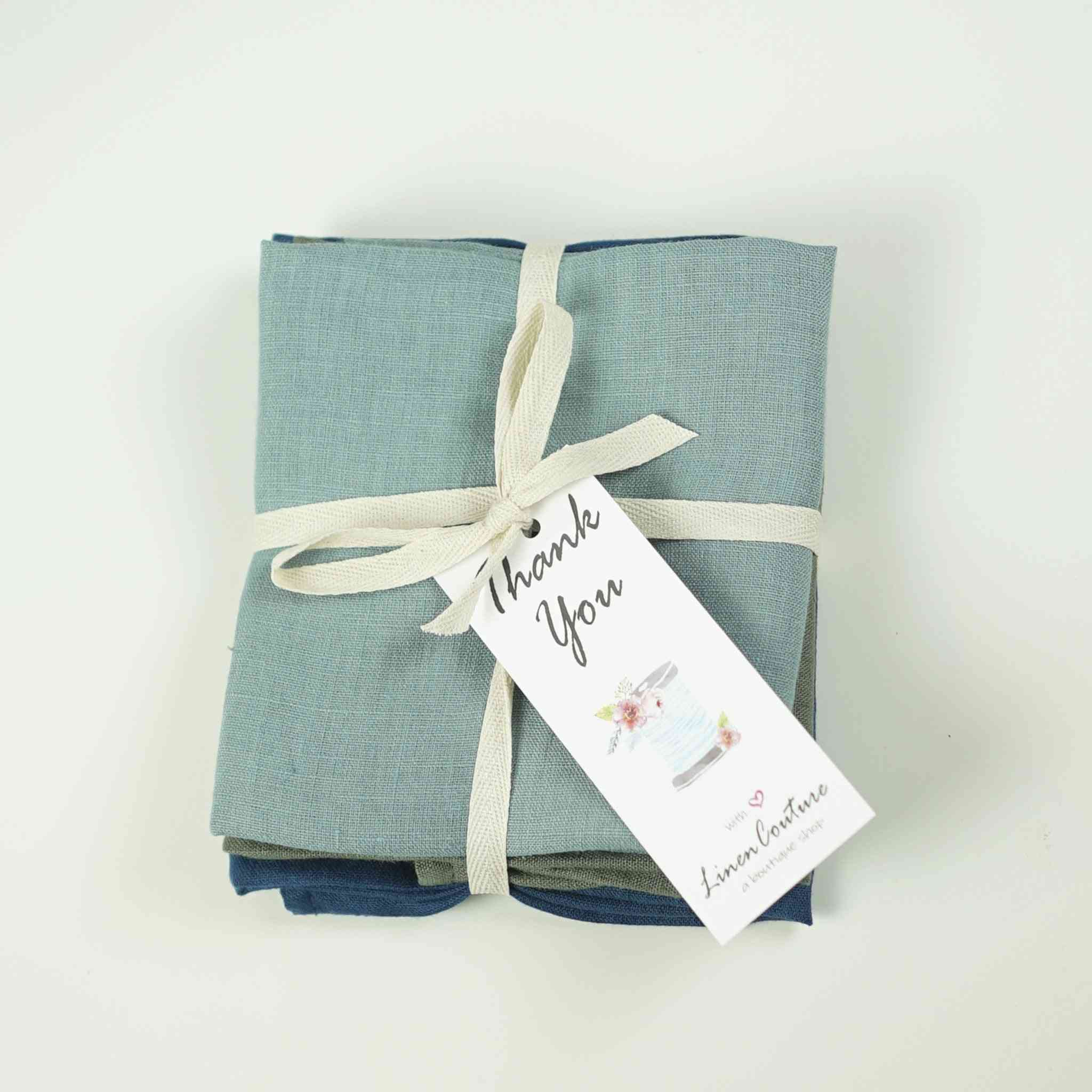 Set Of Softened Linen Coasters With Tassels
