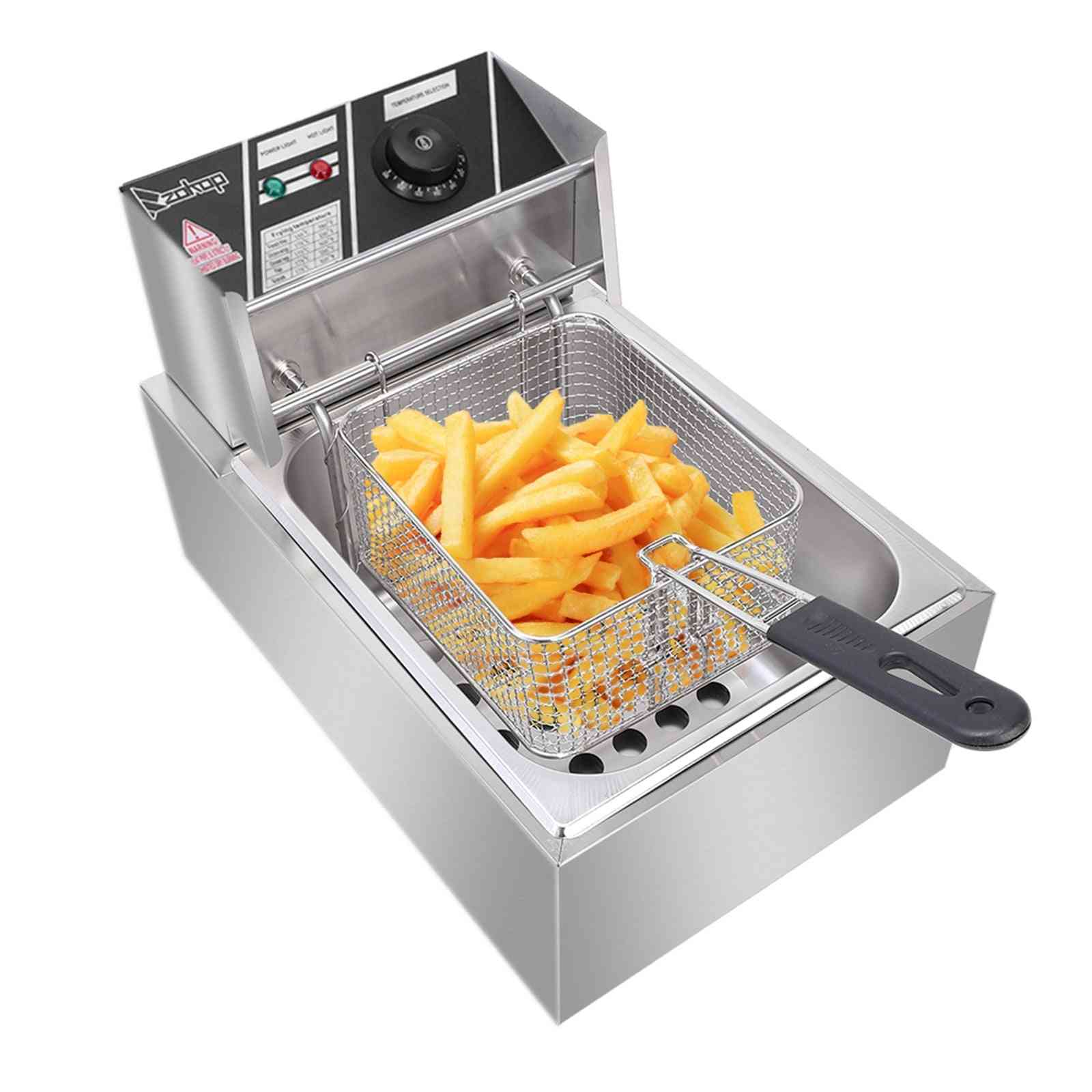 2500w Max 110v 6l Stainless Steel Single Cylinder Electric Fryer
