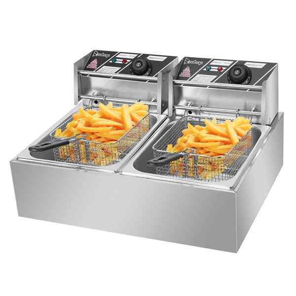 2500w Max 110v 6.3qt/6l Stainless Steel Double Cylinder Electric Fryer