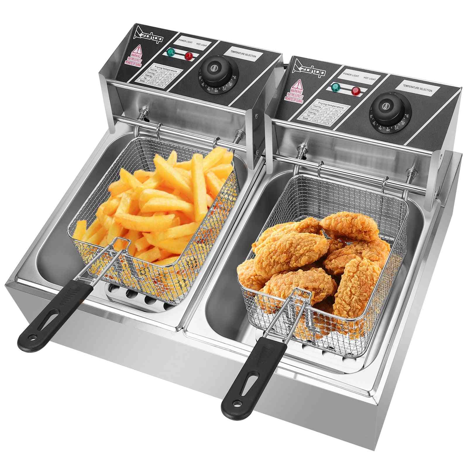 110v 12l Stainless Steel Double Cylinder Electric Fryer