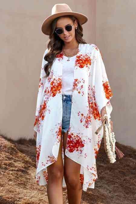 White Orange Floral Kimono Sleeves Chiffon Loose Long Beach Cover Up