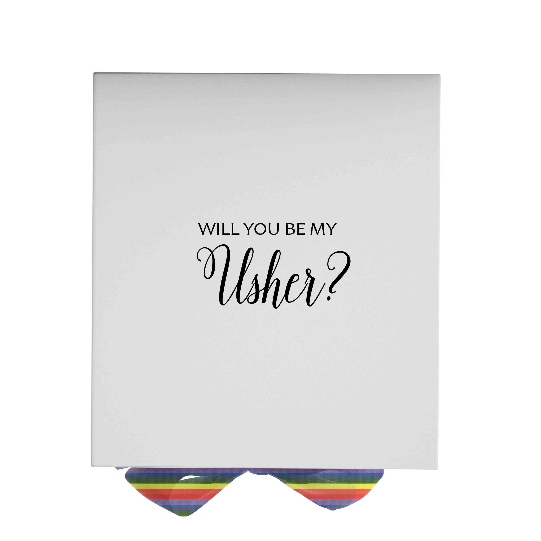 Will You Be My Usher? Proposal Box White - No Border - Rainbow Ribbon