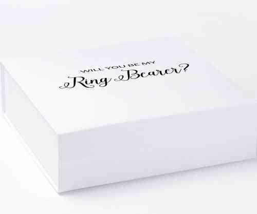 Will You Be My Ring Bearer? Proposal Box White - No Border - No Ribbon