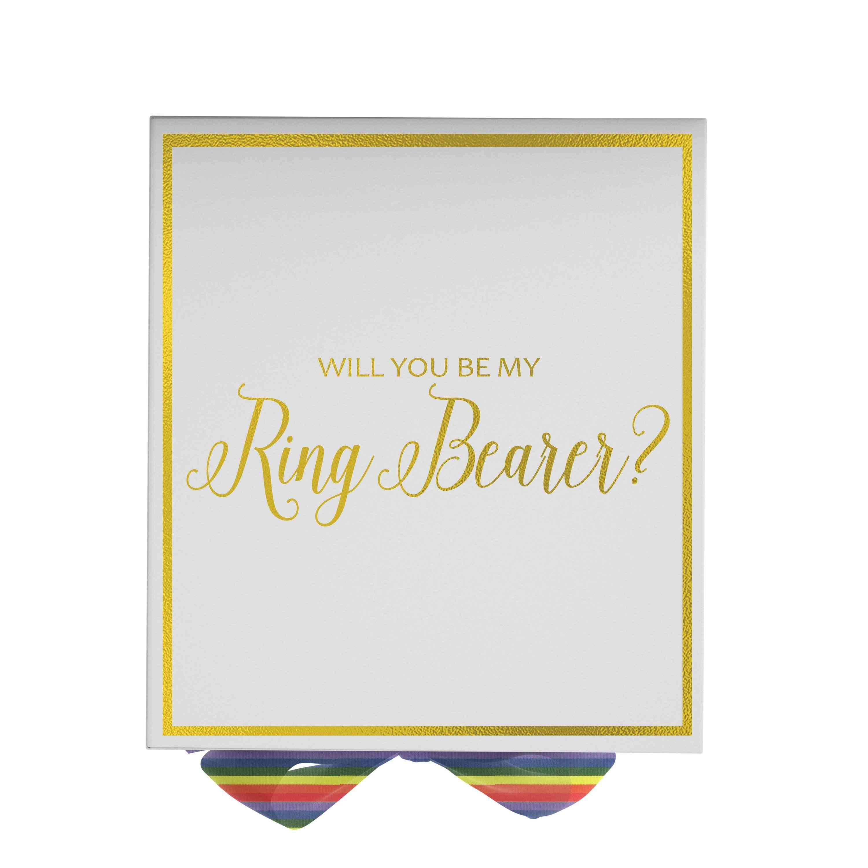 Will You Be My Ring Bearer? Proposal Box White -  Border - Rainbow
