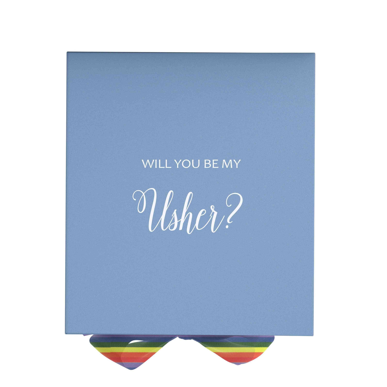 Will You Be My Usher? Proposal Box Light Blue - No Border - Rainbow