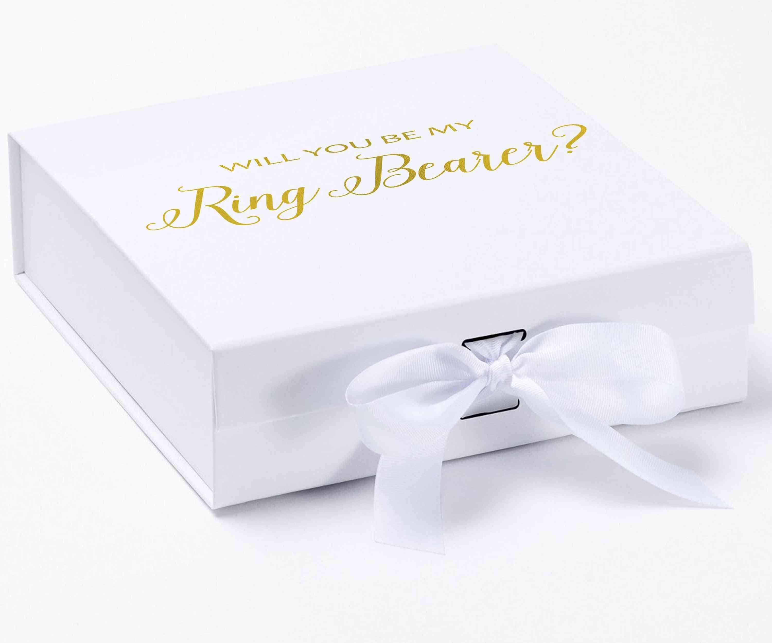 Will You Be My Ring Bearer? Proposal Box White - No Border