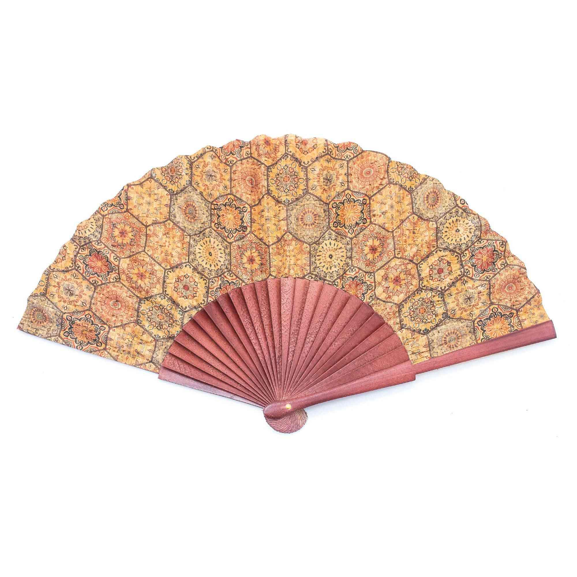 Cork Hand Fan With Traditional Portuguese Parrten  Folding Fan L-552-c