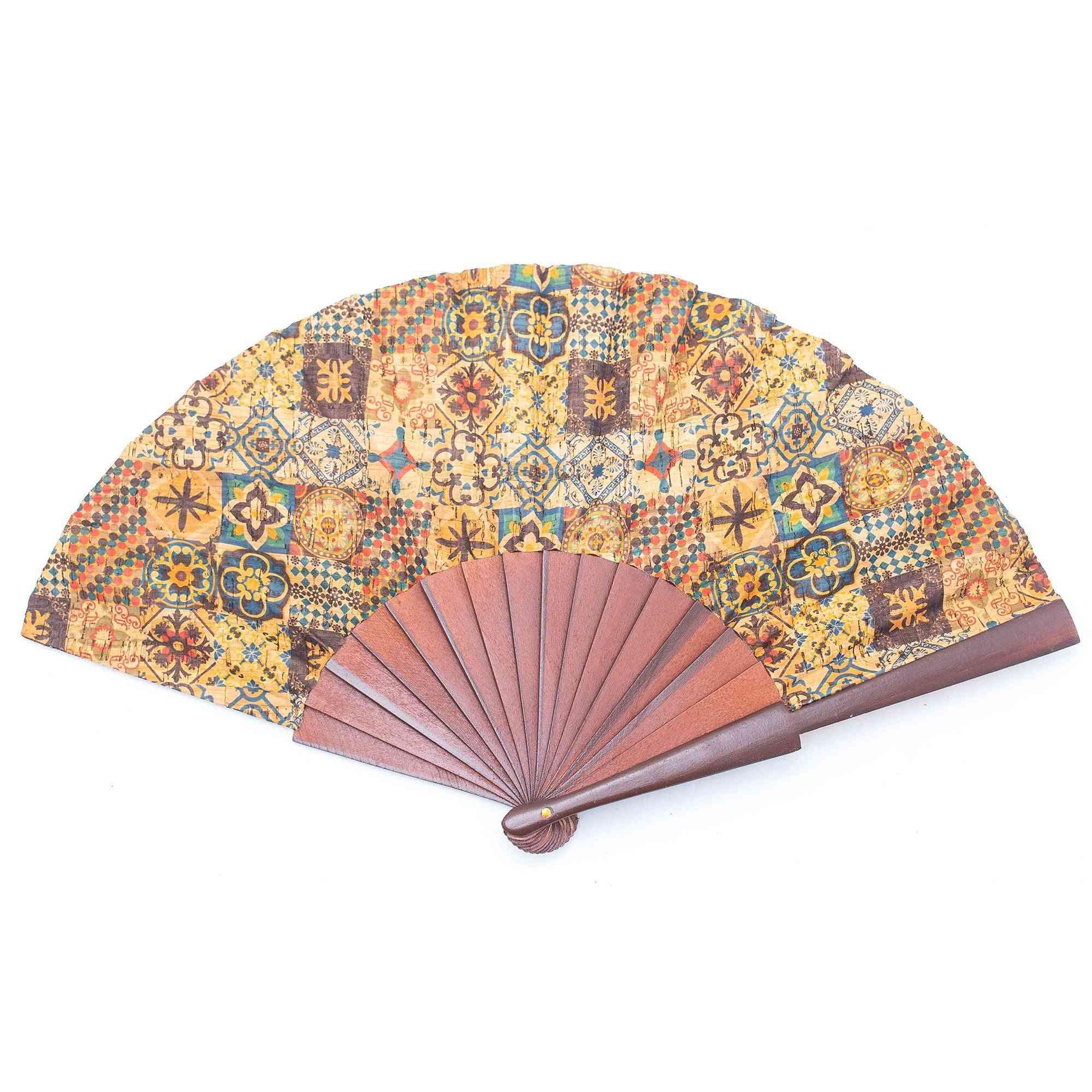 Cork Hand Fan With Traditional Portuguese Parrten  Folding Fan L-552-f