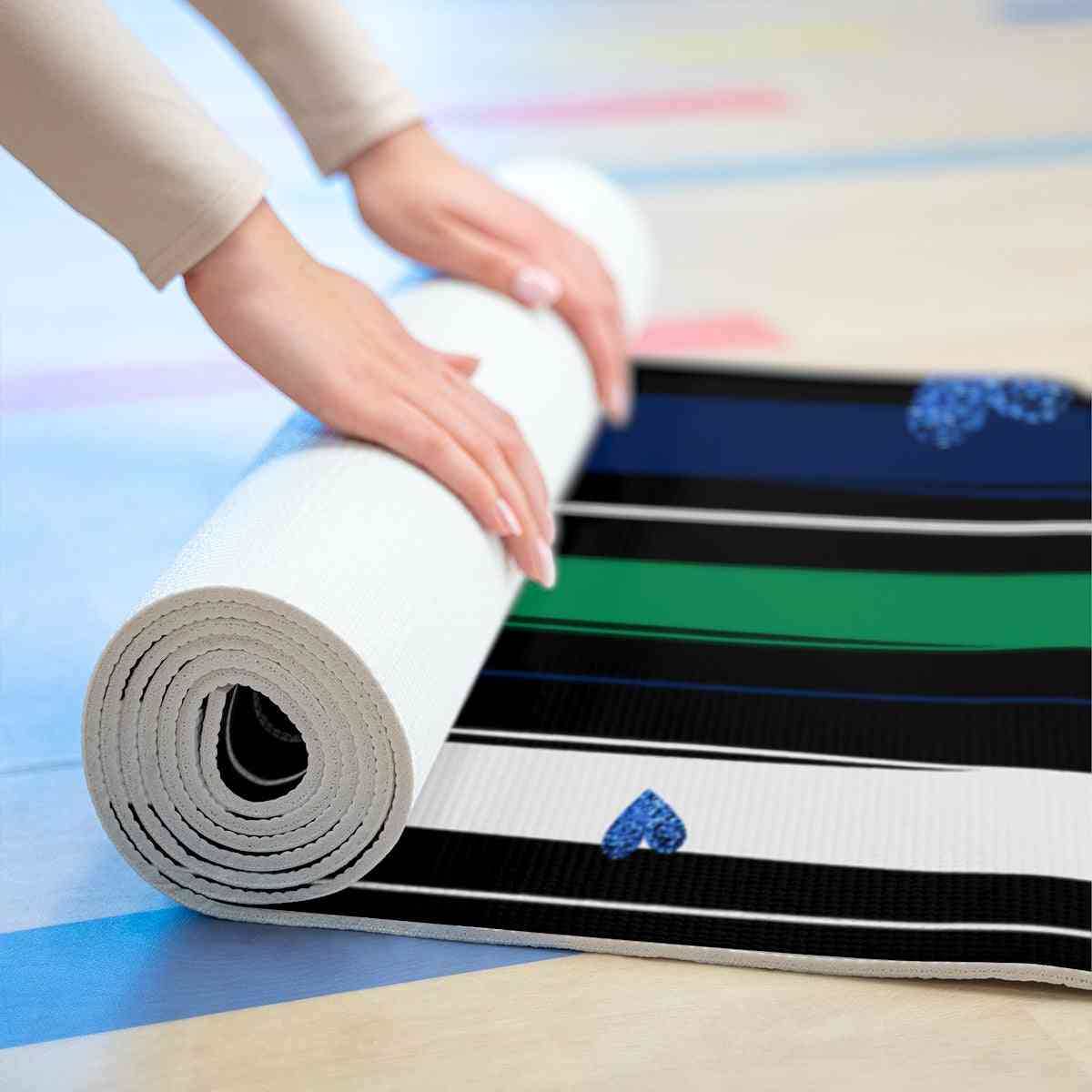 Striped And Hearts Yoga Mat