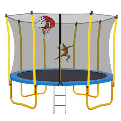 12ft Trampoline For Kids With Safety Enclosure Net Basketball Hoop