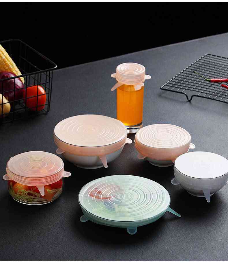 6 Pcs Food Silicone Cover Universal For Cookware