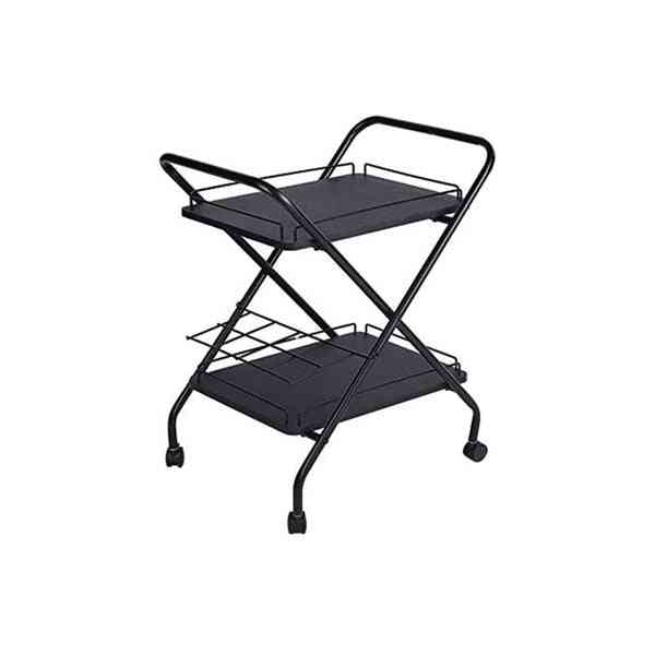 2-tier Rolling Utility Cart With Wheels Bar Service Car With Wine Rack